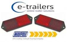 2x RED REAR TRAILER CARAVAN GATE POST CAR HORSEBOX REFLECTOR MP8852B 127x50x7